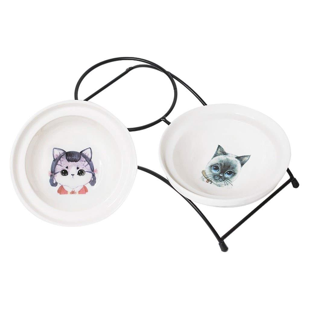 B Pet Bowl Cute Ceramic Cat Dog Dish Elevated Pet Personalized Feeding Device Food and Water Bowl Raised Metal Anti-Skid Frame Animal Tableware (color   B)