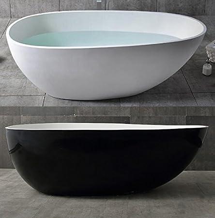 Freistehende Badewanne VELA aus Mineralguss Solid Stone - Farbe und Größe wählbar, Farbe:Weiß (matt), Größen:170 x 86 cm Bernstein Badshop