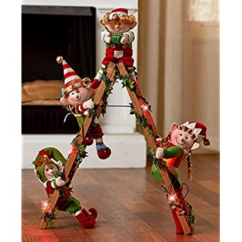 this item holiday elf collection lighted decorative elf ladder - Christmas Ladder Decor