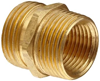 """Anderson Metals Brass Garden Hose Fitting, Connector, 3/4"""" Male Hose ID x 3/4"""" Male Pipe x 1/2"""" Tapped Female Pipe"""