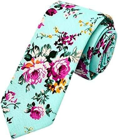 Qianyi Skinny Cotton Printed Floral Neckties Ties Neck Tie for Men