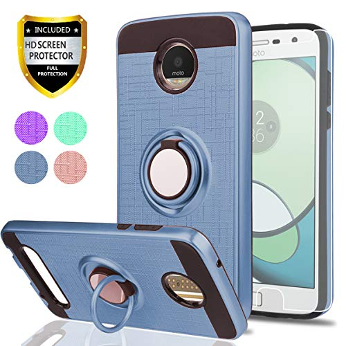 Moto Z2 Play Phone Case with HD Screen Protector,Ymhxcy 360 Degree Rotating Ring & Bracket Dual Layer Resistant Back Cover for Motorola Moto Z2 Play (2nd Gen.)-ZH Metal Slate