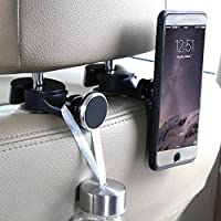 Tablet holder for car,headrest back seat ipad iphone Magnetic car mount for Cellphone iPad Tablet GPS,Car Hooks Storage Organizer for Bag Purse Cloth Grocery,Silver (L+R)