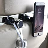 Image of Tablet holder for car,headrest back seat ipad iphone Magnetic car mount for Cellphone iPad Tablet GPS,Car Hooks Storage Organizer for Bag Purse Cloth Grocery,Silver (L+R)