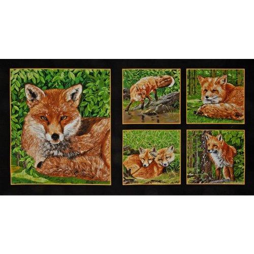 Block Fox (Red Foxes Panel Fox Blocks Black Fabric)