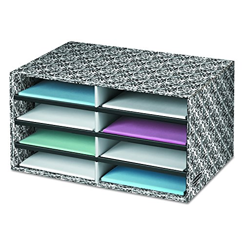 Decorative Corrugated Box - Bankers Box Decorative Eight Compartment Literature Sorter, Letter, Black/White Brocade (6171301)