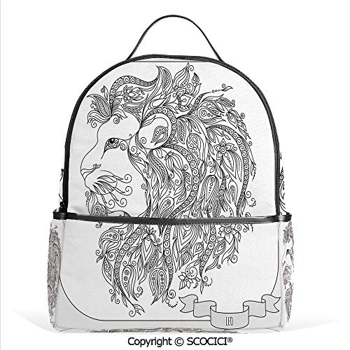 Hot Sale Backpack outdoor travel Visage of Zodiac Leo with Flowers on Hair King of Forest Horoscope Theme,Black White,With Water Bottle Pockets