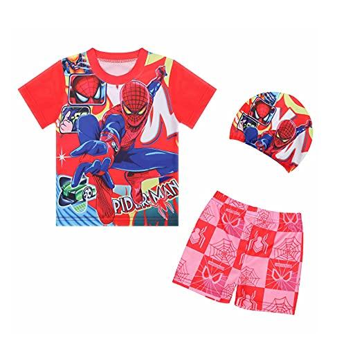 Spiderman Badpak Cosplay Kid Zwemmen Kostuum Watersport Hawaiian Driedelige Shorts Mouwen Jumpsuit Beachwear Surfsuit…