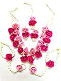 Floret Jewelry Beautiful Pearl Designer Pink Flower Jewelry Set With 6 Items For Women & Girls (Mehandi/Haldi/Wedding/Bridal)
