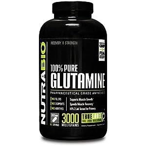 NutraBio 100% Pure L Glutamine Supplement (750mg per Capsule, 360 Capsules)