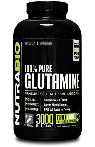 NutraBio 100% Pure L-Glutamine 3000 mg - 360 Vegetable Capsules