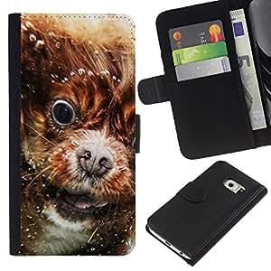 EJOY---La carpeta del tirón la caja de cuero de alta calidad de la PU Caso protector / Samsung Galaxy S6 EDGE / --Cavalier King Charles Spaniel Puppy Nieve