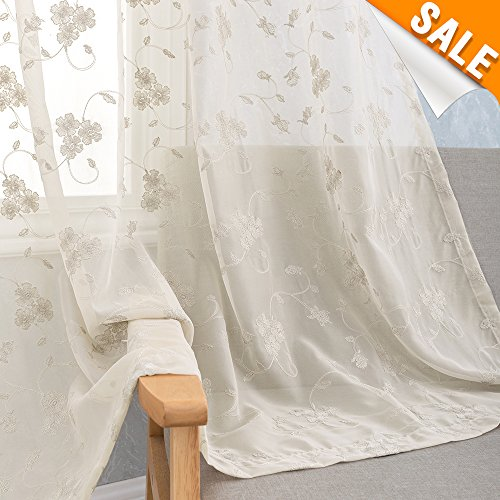 Greyish Beige Floral Embroidered Sheer Curtains Taupe for Living Room 63 inch Length Vintage Embroidery Voile Window Panels for Bedroom Rod Pocket Semi Sheer Curtains, 1 ()