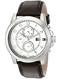 Mens 1710294 Stainless Steel Watch with Brown Leather Band