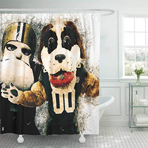 Ladble Decor Shower Curtain Set with Hooks Gumbo Sir Saint Official Mascot New Orleans Saints Grunge Art Symbol White Background Paint Art 72 X 72 Inches Polyester Waterproof Bathroom -