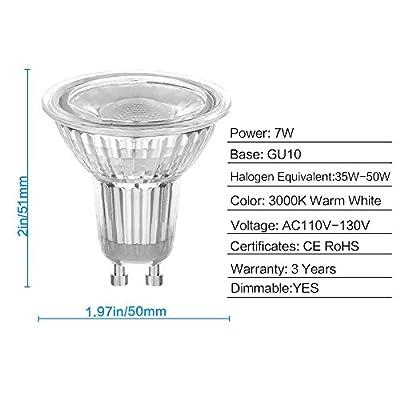 LEDERA GU10 LED Track Light Bulbs, Dimmable Mr16(50W-65W Equivalent), 7W, 6-Pack …