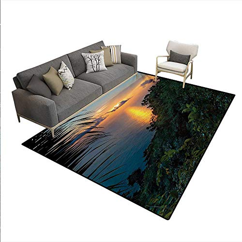 Carpet,Rainforest Sunrise on Ocean Seaside Hills Tropical Plants Leaves Print,Non Slip Rug Pad,Green Blue Orange,5'x6'