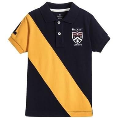 Hackett London - Polo - Rayas - para niño Azul Navy Blue/Gold X ...