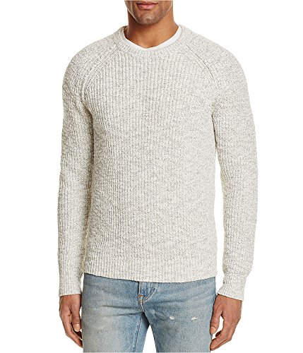 (Bloomingdale's Mens Shaker Stitch Pullover Sweater oatmeal L)