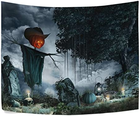 Halloween Scenery with Tombstones Candles and Scarecrow Polyester House Tapestries Room D cor 90×60 Inch Style Decorative Wall Blanket