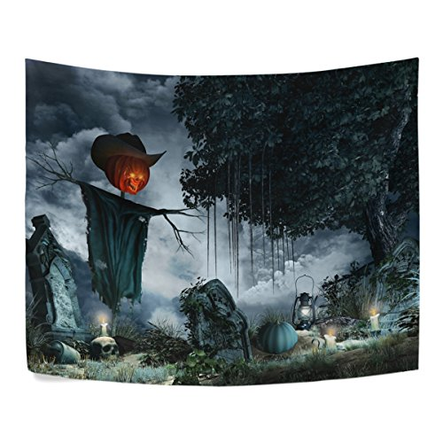 Halloween Scenery with Tombstones Candles and Scarecrow Polyester Dorms Decor Tapestry Horizontal Large 51x60 Inch Home Decorate