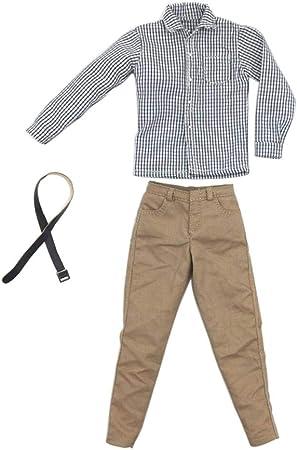 Amazon.es: Baoblaze 1/6 Escala Camisa a Cuadros Gris Manga Larga Pantalones Casuales de Color Caqui Cinturón Ropa Masculina para Hombres: Juguetes y juegos