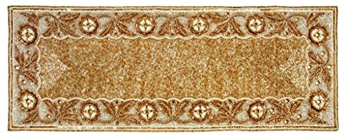 Linen Clubs Hand Made Beaded Table Runner 13x36 Inch in Gold/Ivory Combo Colors,Produced by Skilled Village Artisans in India - A Beautiful Complements to Dinner Table Decor Offered (Christmas Runner Beaded Table)