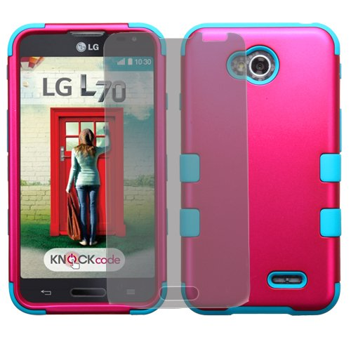 Phonelicious(Tm) For LG ULTIMATE 2 (STRAIGHT TALK) / LG REALM (BOOST) / LG Optimus L70 MS323 (Verizon Sprint TracFone US Cellular Metro Pcs) / LG Optimus Exceed 2 VS450PP 3-Layer Tuff Armor Impact Hybrid Soft Silicone Cover Hard Snap On Plastic Case + Clear LCD Screen Guard Protector + Phonelicious(Tm) Silver Stylus Pen (Pink / Teal Tuff)