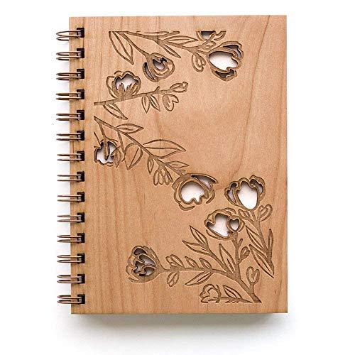 Rose Branches Laser Cut Wood Journal (Notebook/Birthday Gift/Gratitude Journal/Handmade/Christmas Gift)