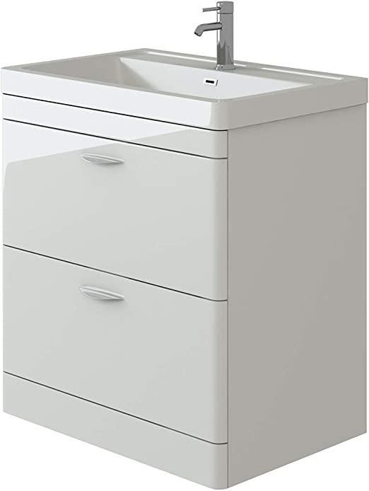600mm VeeBath Cyrenne White Wall Vanity Unit Cabinet /& Basin with Soft Edges