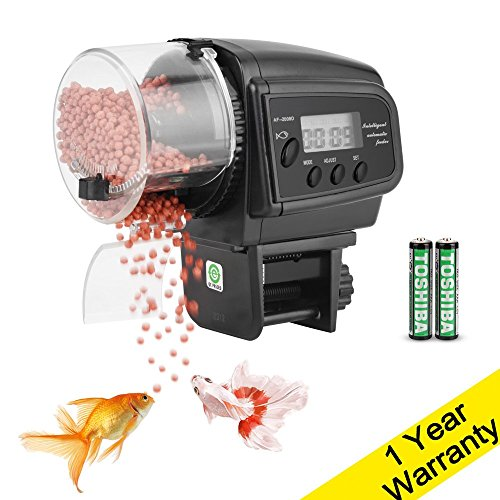 (DaToo Aquarium Fish Feeder Automatic Fish Tank Auto Fish Food Timer Feeder for Fish Turtle (Batteries Included), 1 Yr Warranty)