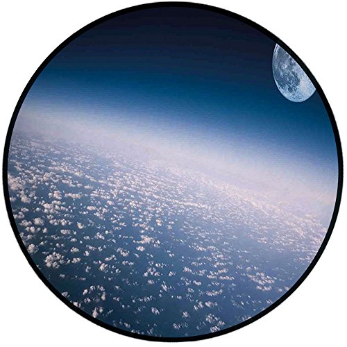 Printing Round Rug,Space,Aerial Atmosphere View of The Planet Earth with Moon Satellite World Horizon Picture Mat Non-Slip Soft Entrance Mat Door Floor Rug Area Rug for Chair Living Room,Light Blue ()