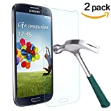 Galaxy S4 Screen Protector,TANTEK [Bubble-Free][HD-Clear][Anti-Scratch][Anti-Glare][Anti-Fingerprint] Premium Tempered Glass Screen Protector for Samsung Galaxy S4,[Lifetime Warranty]-[2Pack]