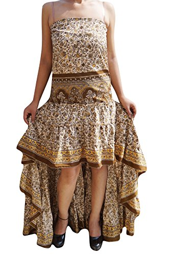 Mogul Interior Womens Swirling Hi Low Dress Recycled Silk Ultimate Allure Flare Tiered Design Strapless Sundress (Brown, Beige) (Swirl Silk Skirt)