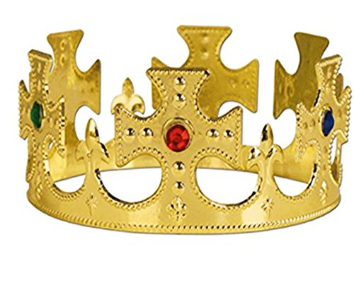 Crown Jeweled Plastic (Playo Gold King Jeweled Crown – Pack of 12 - Perfect King Costume accessories)