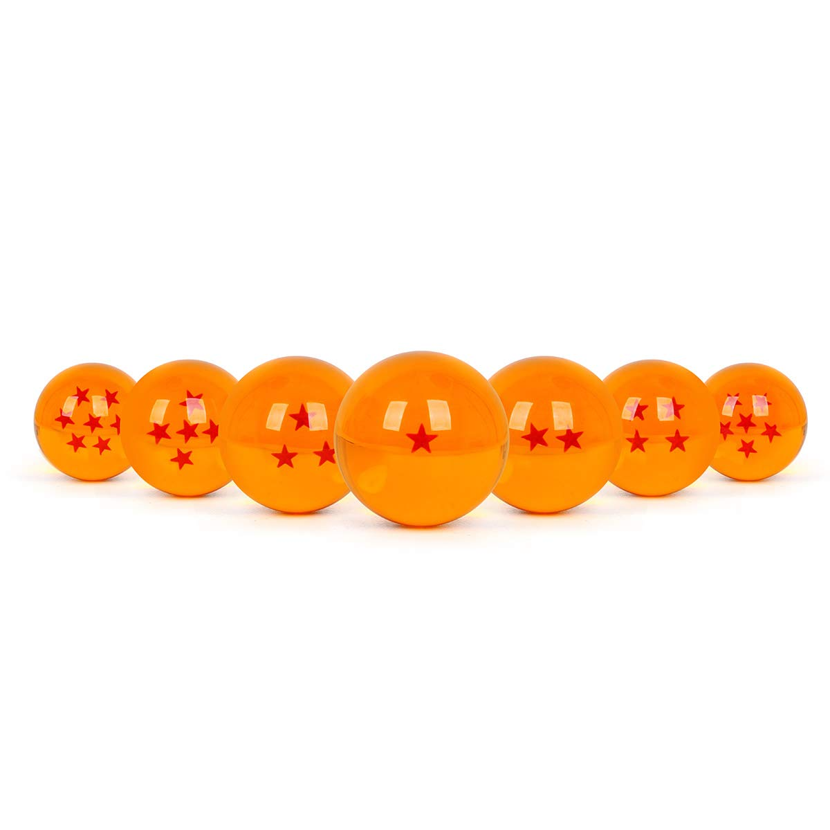 WeizhaonanCos Unisex Acrylic Resin Transparent Stars Balls Glass Ball Dragon Ball Cosplay Props Kids Play Toy Gift Set of 7pcs 43mm/1.7 in in Diameter (Orange) by WeizhaonanCos (Image #3)