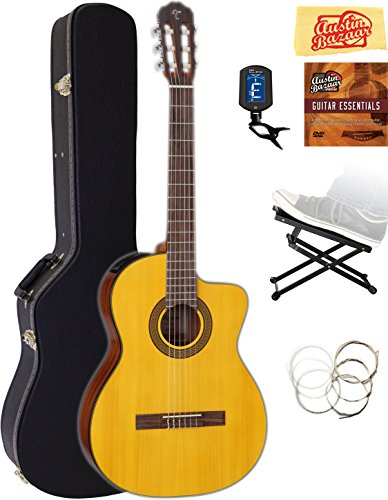 - Takamine GC3CE Classical Cutaway Acoustic-Electric Guitar - Natural Gloss Bundle with Hard Case, Foot Stool, Cable, Tuner, Strings, Austin Bazaar Instructional DVD, and Polishing Cloth