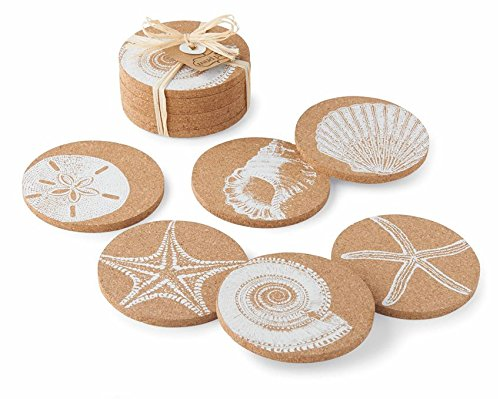 Sea Shell Printed Cork Coasters - Set of 6