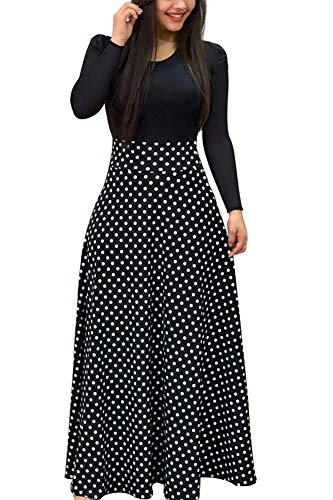 Demetory Women`s Summer 3/4 Sleeve Empire Waist Polka Dot Flowy Long Maxi Dress Black X-Large