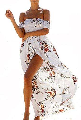 Summer Beach Maxi Dresses for Women Off The Shoulder Floral Boho Sundresses White L