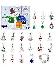 Holibanna 1 Set Advent Christmas Charm Calendar 2020 Bracelet DIY Christmas Advent Calendar Bracelet Necklace Set for Kids Girls Pendant Jewelry