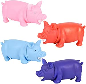 ArtCreativity Snorting Pig Toys for Kids, Set of 4, Squeeze for Fun Snort Sounds, Little Piggy Toys in Assorted Colors, Cute Pig Party Decorations, Barnyard Birthday Party Favors for Boys and Girls
