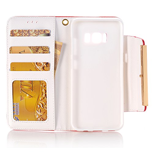 Galaxy Multi PU for elecfan Lady Crossbody Candy S8 Wallet Money Plus Bag Handbag Leather Cards Color Poacket for Case Plus with Envelope amp; S8 Shiny Slots Red A05 6 Chain Cover Samsung White inch 2 r7xxYFwq