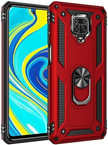 HUUH Funda para Xiaomi Redmi Note 9S/Redmi Note 9 Pro/Redmi Note 9 Pro MAX, 360 Grados Cubierta de Soporte de Anillo Giratorio TPU Parachoques Resistente a Golpes y a Prueba de choques(Rojo):