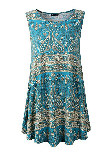 Veranee Women's Sleeveless Swing Tunic Summer Floral Flare Tank Top XXX-Large 6-21