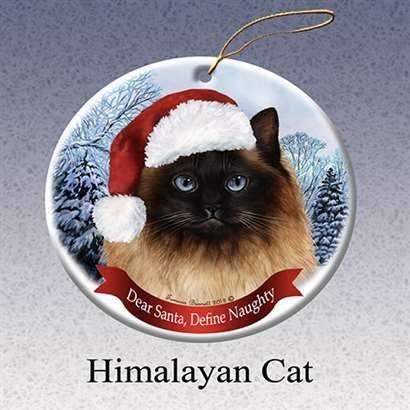 - Holiday Pet Gifts Himalayan Cat Santa Hat Cat Porcelain Christmas Tree Ornament