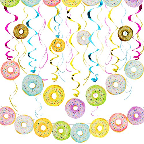 Donut Party Banner Decoration Set, Include Donut Theme Party Banner and Hanging Swirls with Donut Pattern Pendant for Birthday Baby Shower New Year Thanksgiving Day Party Supplies]()