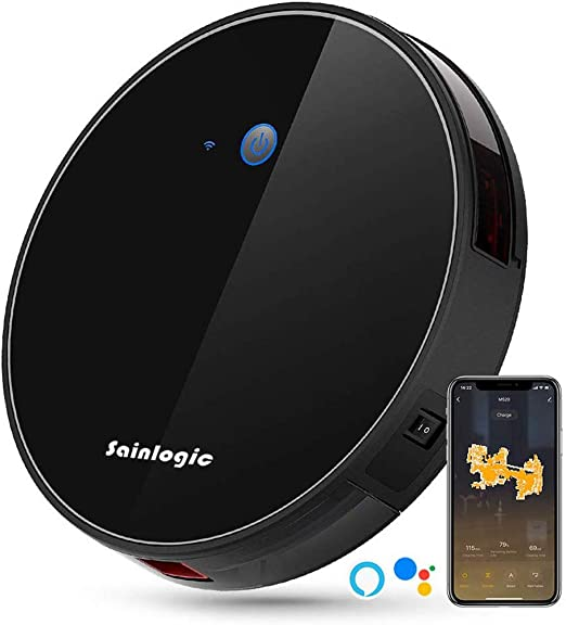 sainlogic WLAN Saugroboter Robot Aspirador con WiFi y función sin Enchufe, Extremadamente Delgado, silencioso, Auto-Recargable, 2500 Pa, 5 Niveles de Limpieza Negro: Amazon.es: Jardín