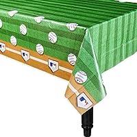 "Amscan Rawlings Baseball MLB Plastic Table Cover, 54 x 102"""