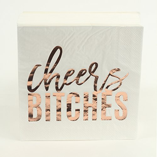 Andaz Press Rose Gold Foil Lunch Napkins, Cheers Bitches, 6.5-inch, 50-Pack, Modern Tableware For Bachelorette Party, Engagement Party, Graduation, Girls Night Out, Hen Party, New Years Eve